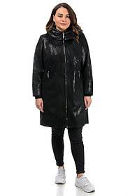 Замшевое демисезонное пальто черное с блеском, больших размеров от 50 до 62