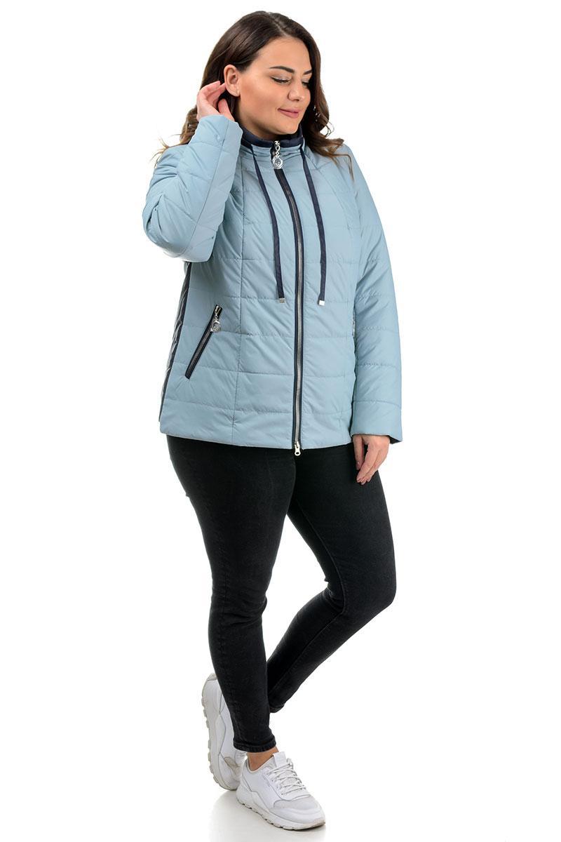 Молодіжна коротка жіноча блакитна куртка-плащівка на весну, великі розміри 50-58