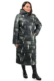 Стеганое женское удлиненное  пальто в  абстрактный принт  с капюшоном, размеры плюс сайз  46-56