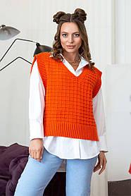 Практичный яркий жилет женский вязаный оранжевого цвета, размер оверсайз 42-48