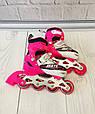 Комплект - ролики детские раздвижные Profi размер S 31-34 PU (РОЗОВЫЕ) + Защита арт. 4123S-P/0336, фото 4