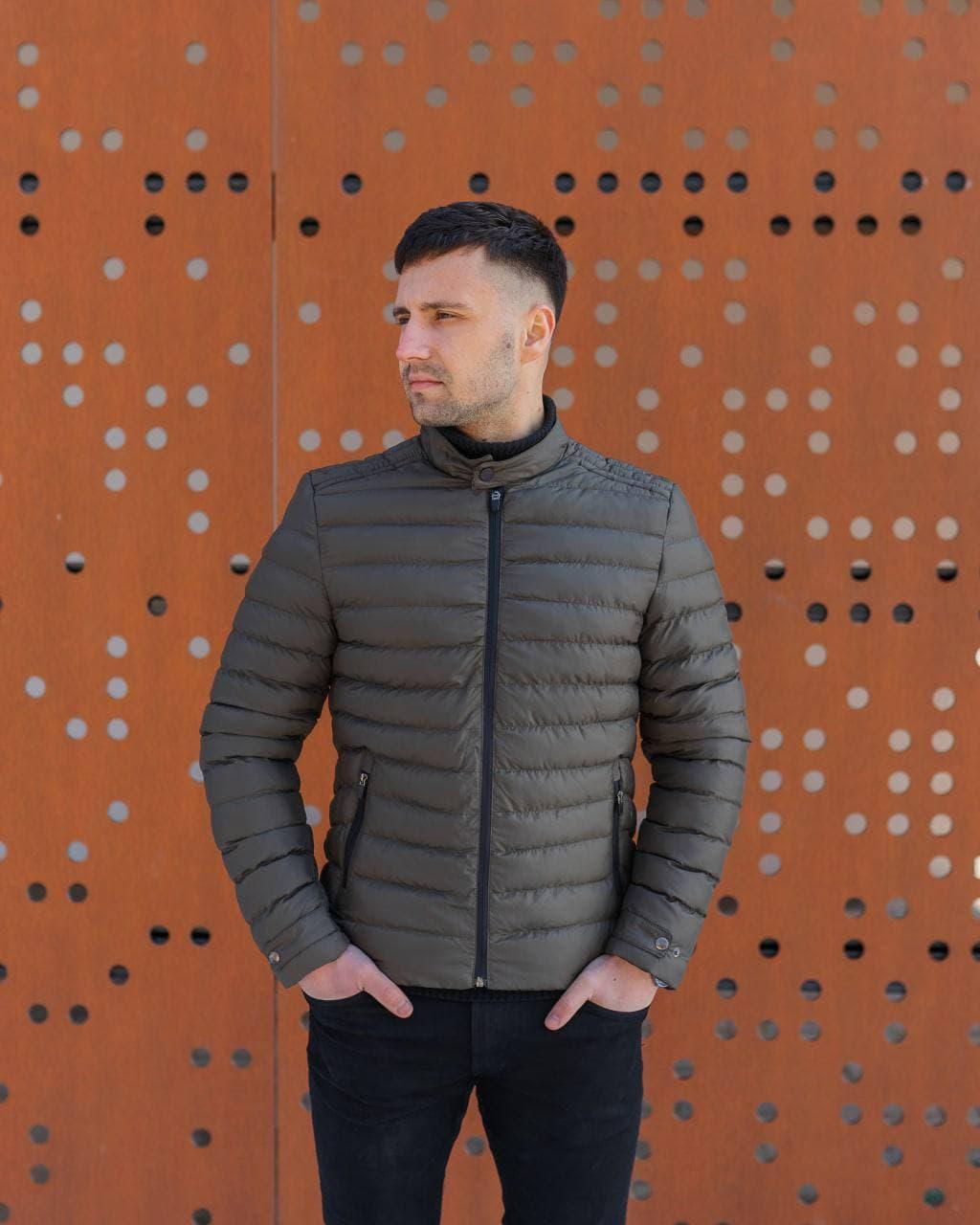 😜 Куртка - Мужская куртка темно-коричнева без капюшона / чоловіча куртка без капюшону темно-коричнева