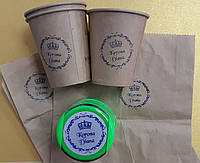 Штамп логотип на стаканчик и крафт упаковку