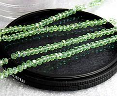 Бусины хрустальные 2х2мм кол-во: 180-190 шт, весенний зеленый прозрачный с АБ
