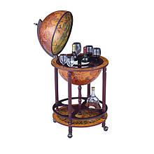Глобус бар напольный деревянный на 4 ножках 420 мм коричневый