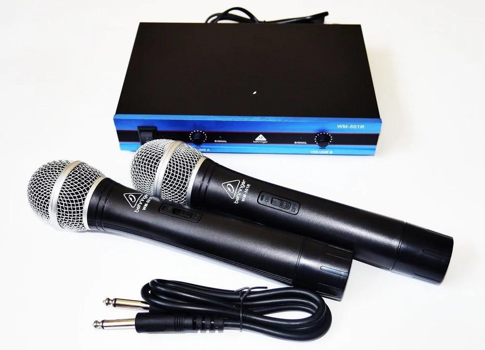 Радіо мікрофон для вокалу та караоке Behringer WM501R два професійних мікрофона в комплекті з базою
