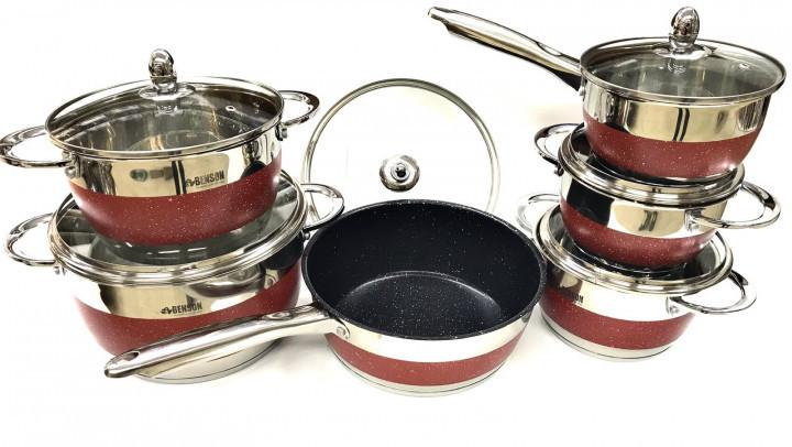Набор посуды из нержавеющей стали Benson BN-294 с крышками 12 предметов красный