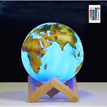 """3D світильник-нічник """"Земля"""" з пультом ДУ"""