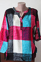 Блуза женская штапель софт клеточка 5