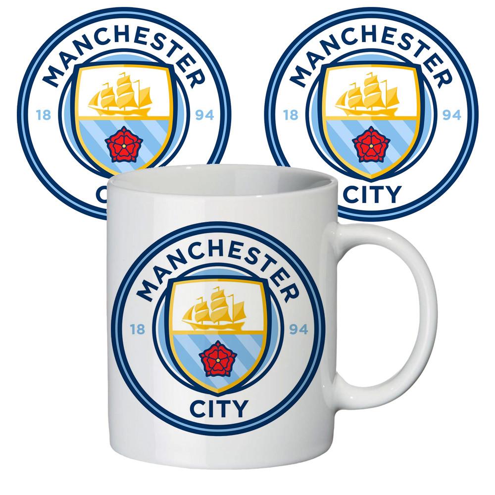 Классная большая чашка с принтом на подарок ФК Манчестер Сити