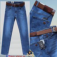 Мужские классические джинсы светло-синего цвета с ремнём HSD