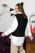Офісний жіночий в'язаний жилет чорного кольору нова колекція, розмір оверсайз 42-48, фото 3