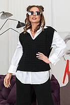 Офісний жіночий в'язаний жилет чорного кольору нова колекція, розмір оверсайз 42-48, фото 2