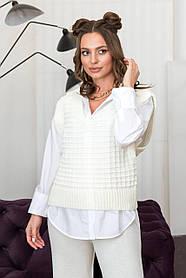 Жилетка вязаная белого цвета для деловой женщины, размер оверсайз 42-48