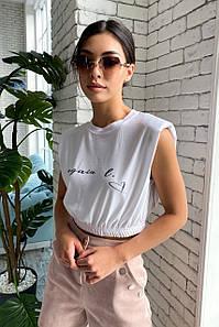 Біла жіноча коротка футболка з принтом (1703.4573 svt)