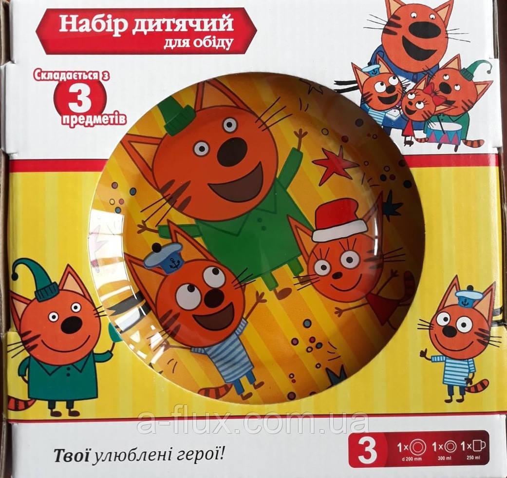 Набор детский Три кота из 3 пр. стекло