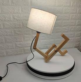 Настольная лампа абажур с деревянной подставкой