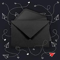 Крафт конверт С5 чёрный, клапан треугольный, 162*229 мм
