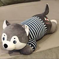 Детский плед гипоаллергенный игрушка-подушка 3-в-1 Собачка хаски