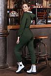 Жіночий теплий трикотажний комбінезон на флісі, з капюшоном, на блискавці. Хакі, фото 2