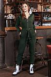 Жіночий теплий трикотажний комбінезон на флісі, з капюшоном, на блискавці. Хакі, фото 3