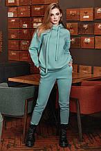 Женский трикотажный костюм на флисе, свободный, с капюшоном и толстыми завязками. Оливково-голубой