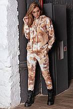 Женский трикотажный костюм, свободный, с капюшоном и толстыми завязками. Белый с бежевым