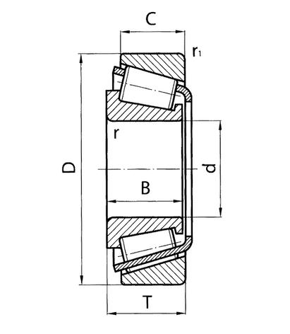 Підшипник  30211 (7211)  NTN, розміри:55*100*22.75, фото 2