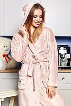 Женский домашний мягкий плюшевый халат по колено с ушками. Светло-розовый, пудровый