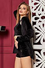 Жіночий домашній м'який плюшевий костюм трійка. Шорти, топік, кофта. Чорний