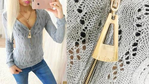 Ажурный вязаный свитер со змейкой