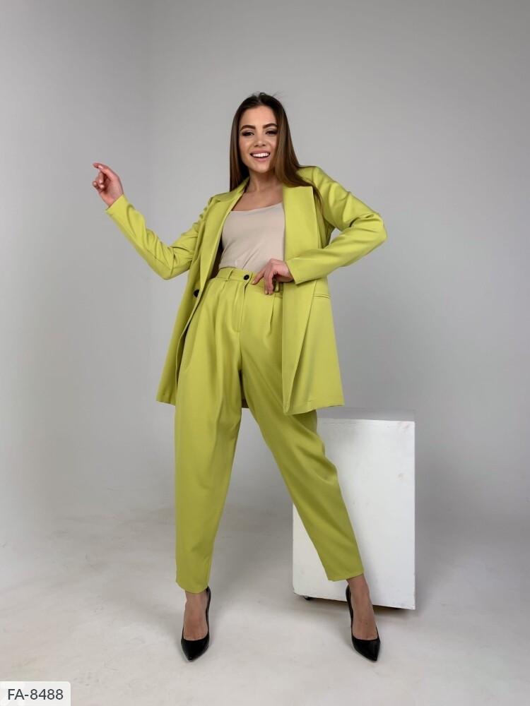 Деловой стильный женский костюм с брюками и пиджаком р-ры 42-44,46-48 арт 373