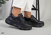 Кросівки жіночі чорні з натуральної шкіри, фото 1