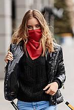 Женский шейный платок-маска красная однотонная