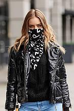 Женский шейный платок-маска черный с узором