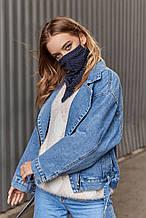 Женский шейный платок-маска синий в горошек