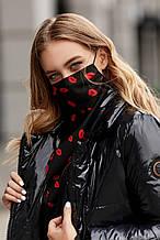Женский шейный платок-маска черный с принтом красные губки