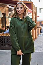 Женская длинная и широкая однотонная толстовка с карманом-кенгуру и капюшоном. Зеленая (хаки)