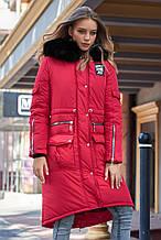 Женская зимняя куртка-парка, длинная, по колено с искусственным мехом. Красная