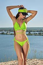 Пляжный женский раздельный купальник с рюшами и декоративными завязками. Зеленый, неоновый,салатовый
