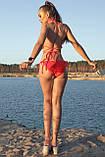 Пляжный женский раздельный купальник с рюшами и декоративными завязками. Красный, фото 2