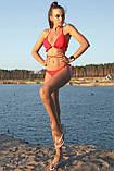 Пляжный женский раздельный купальник с рюшами и декоративными завязками. Красный, фото 4