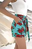 Женские летние шорты из льна с красными крупными цветами. На высокой талии. Голубые, бирюзовые, фото 4