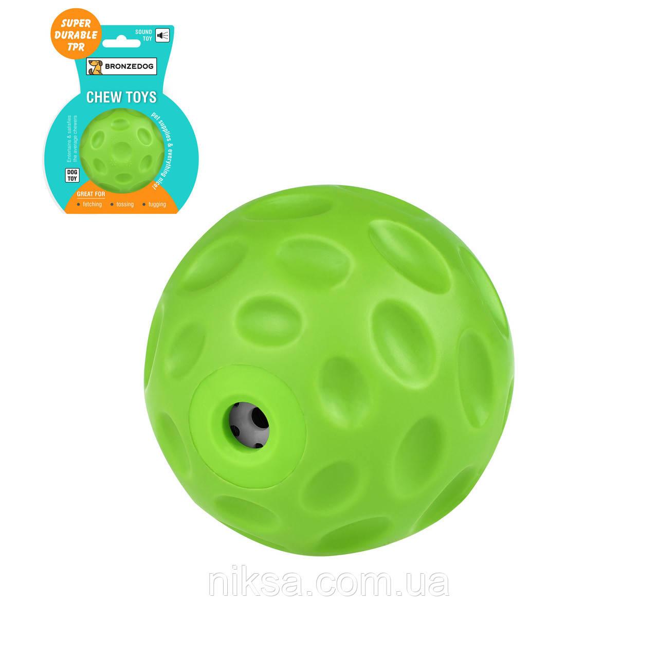 """Игрушка для собак плавающая """"Звуковой мяч"""" зеленый 7 см серия FLOAT """"Bronzedog"""""""