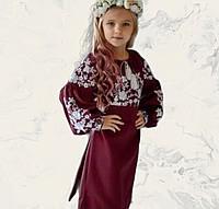 Этническое платье для девочки в украинском стиле бордового цвета