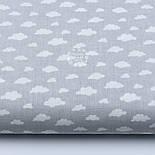 """Лоскут бязі """"Маленькі хмари різних розмірів"""" білі на сірому, колекція Mini-mikro, розмір 138*15 см, фото 2"""