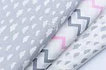 """Лоскут бязі """"Маленькі хмари різних розмірів"""" білі на сірому, колекція Mini-mikro, розмір 138*15 см, фото 5"""
