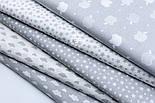 """Лоскут бязі """"Маленькі хмари різних розмірів"""" білі на сірому, колекція Mini-mikro, розмір 138*15 см, фото 6"""