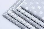 """Лоскут бязі """"Маленькі хмари різних розмірів"""" білі на сірому, колекція Mini-mikro, розмір 138*15 см, фото 7"""