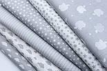 """Лоскут бязі """"Маленькі хмари різних розмірів"""" білі на сірому, колекція Mini-mikro, розмір 138*15 см, фото 8"""